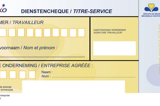 Aperçu chèque Titre Service sur Papier en région bruxelloise