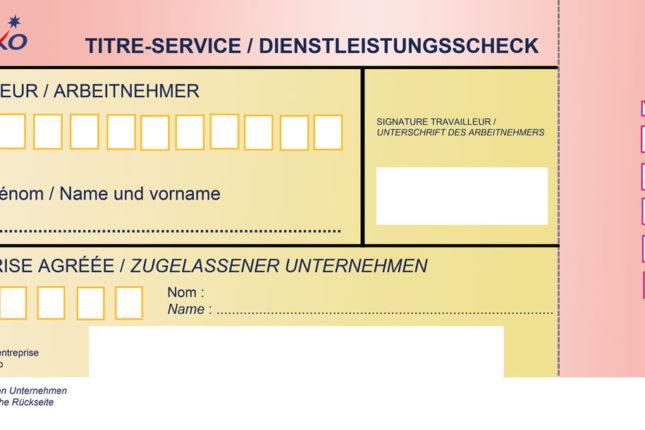 Aperçu chèque Titre Service sur Papier en région wallonne